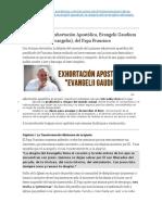 Francisco - Resumen de La Exhortación Apostólica