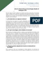 Reflexiones Sobre La Educacion Tecnologica Desde El Enfoque CTS
