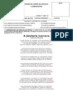 PRUEBA DE I UNIDAD DE LENGUAJE 7º AÑO 2016