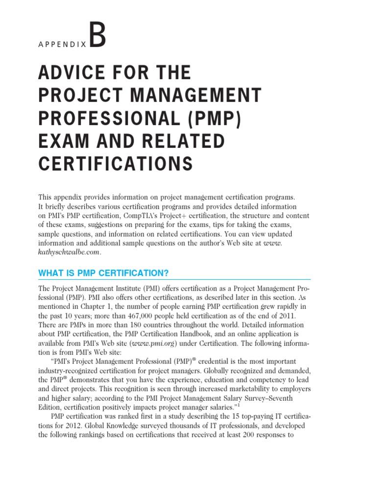 Pmp Advicepdf Project Management Professional Comp Tia