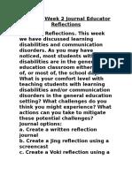 ESE 631 Week 2 Journal Educator Reflections