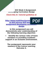 ASH ESE 633 Week 2 Assignment Developing Curriculum Design