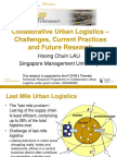 Collaborative Urban Logistics - Challenges Current Practices and Future Research