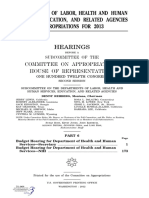 HOUSE HEARING, 112TH CONGRESS - DEPARTMENTS OF LABOR, HEALTH AND HUMAN SERVICES, EDUCATION, AND RELATED AGENCIES APPROPRIATIONS FOR 2013