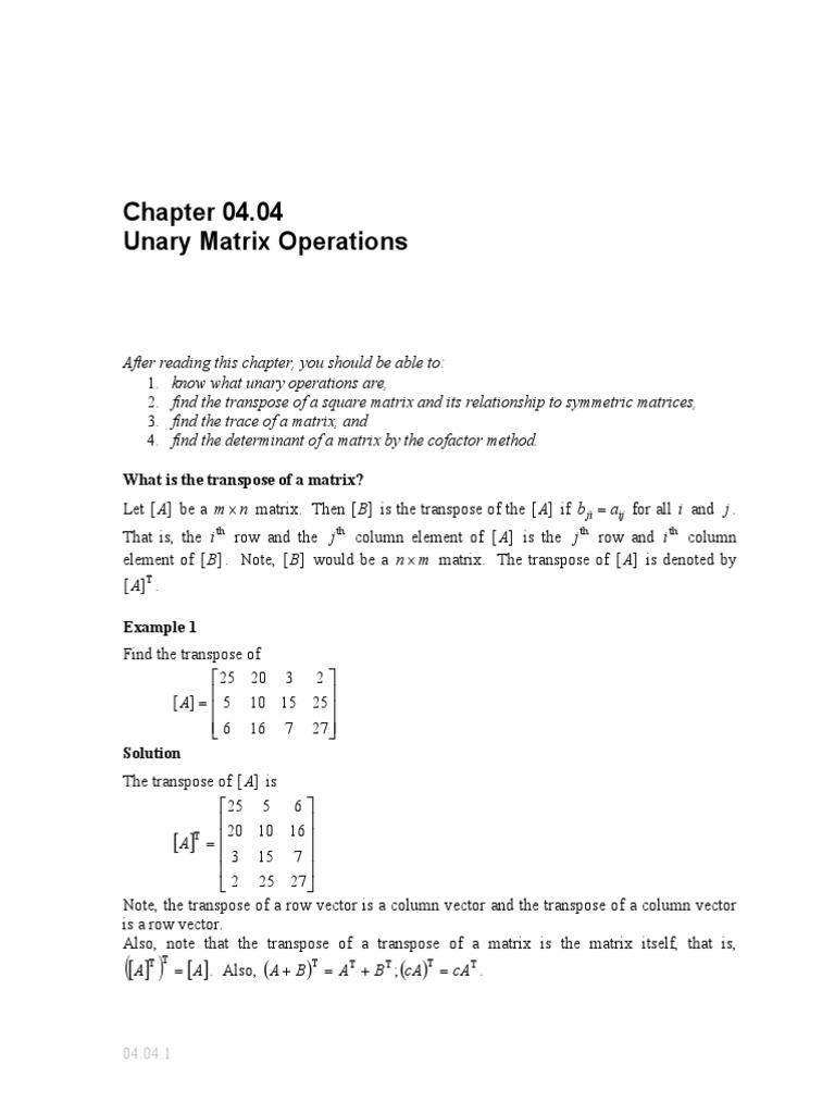 04 04 Unary Matrix Operations | Determinant | Matrix (Mathematics)