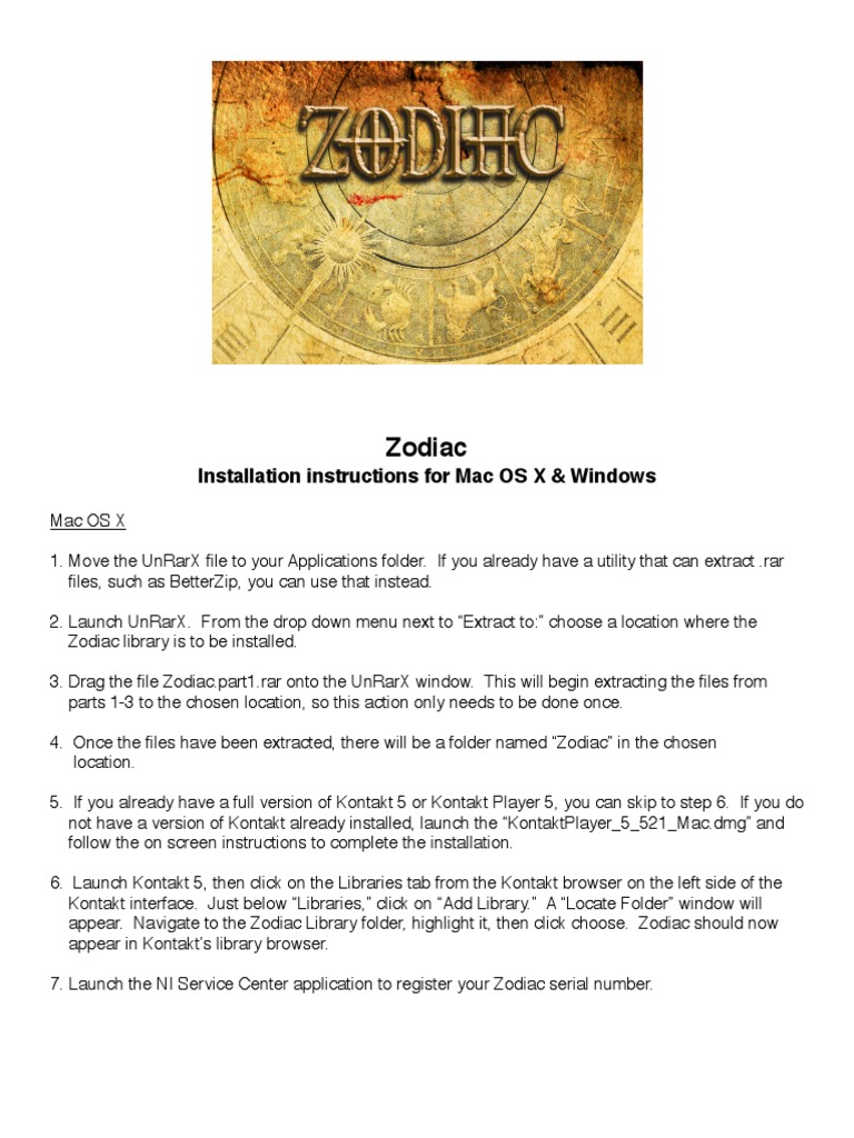 Zodiac Installation Instructions pdf | Tab (Gui) | Library