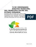 Proyecto de Ordenanza Catastro Municipal