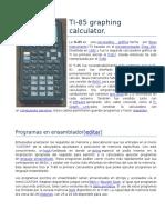 Calculadora TI-85 Resumen
