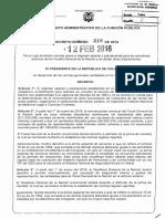 DECRETO 219 DEL 12 de FEBRERO de 2016 (Asignaciones Salariales Fiscalía)