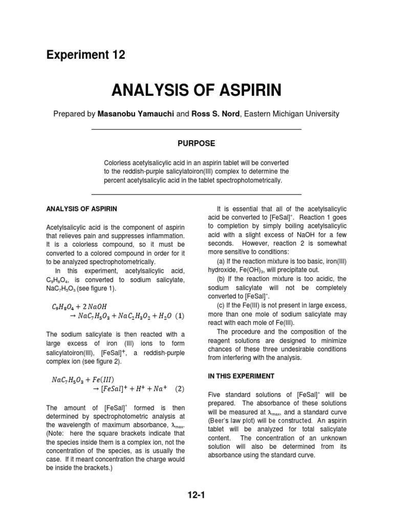 experiment analysing molar mass of aspirin essay Analysis of aspirin in ecospirin 75 aspirin report - analysis of aspirin in reacted with sodium hydroxide =179x10 ± 2% molar mass of aspirin = 180.