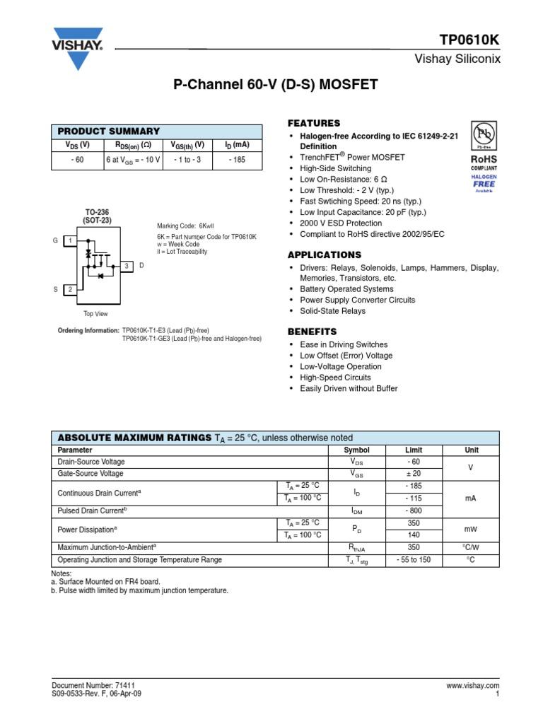 Vishay TP0610K T1 GE3 Datasheet Disclaimer Field Effect Transistor