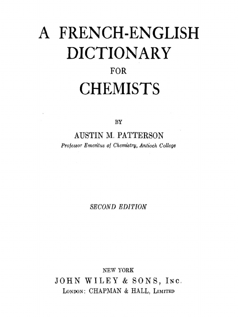 French english dictionary for chemists 2ed patterson pdf acetate grammatical gender