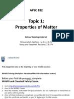 Topic 1 - Properties of Matter