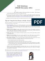 MATH100 December 2011 Solutions