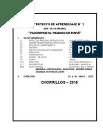 PROYECTO  DE APRENDIZAJE  N° 1- 4° GRADO 2016..docx
