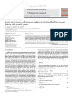 Steady-state thermo-hydrodynamic analysis of cylindrical fluid film journal bearing with an axial groove