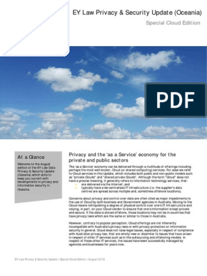 EY Law Privacy Security Update Special Cloud Edition (August
