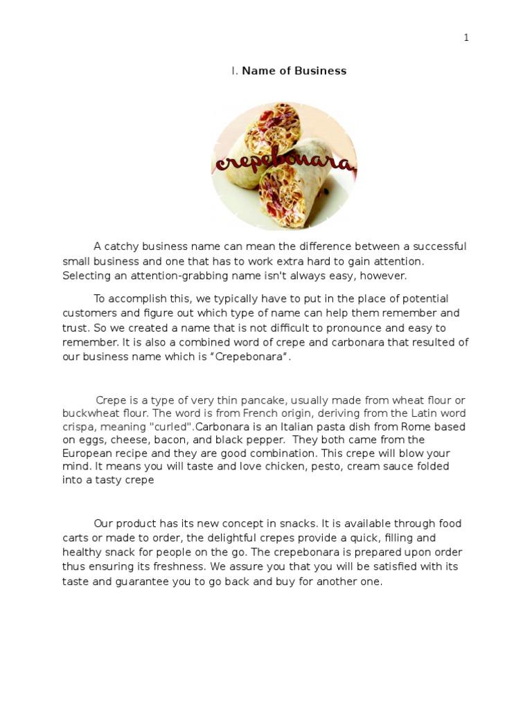 Business Plan | Foods | Comida y vino