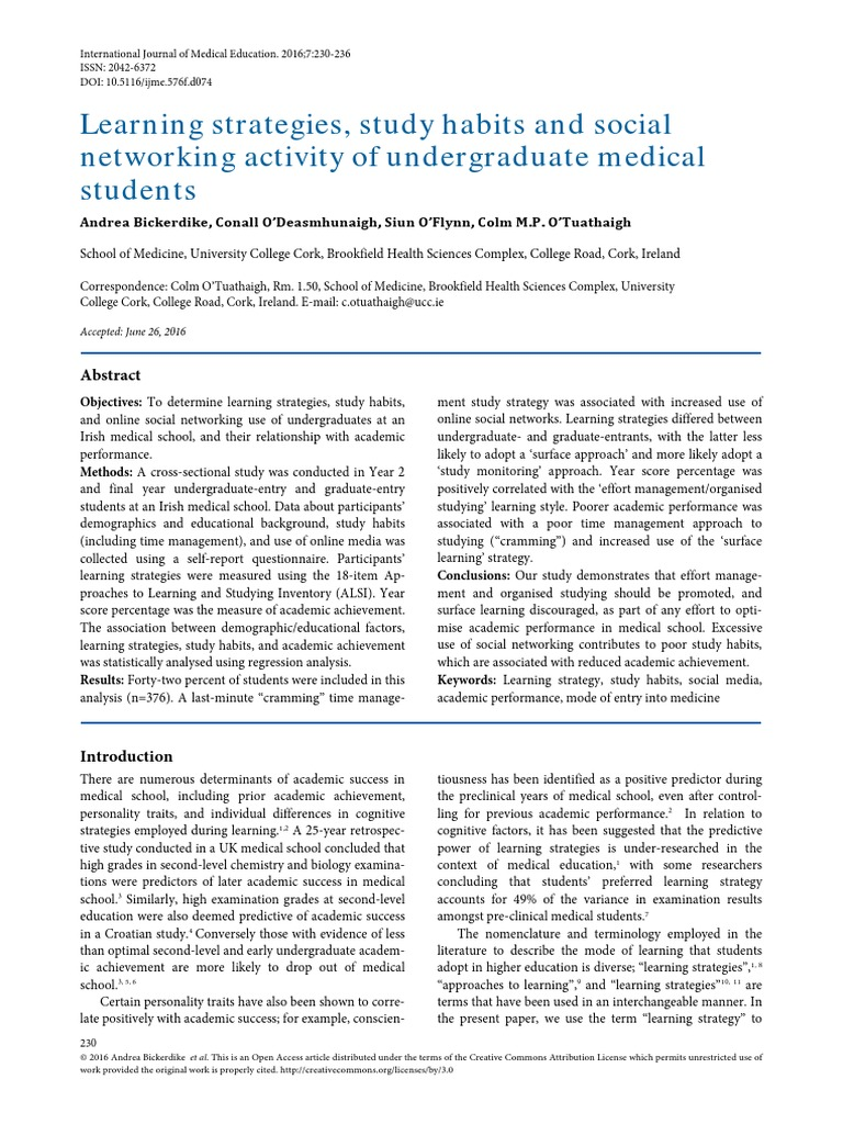 Learning Strategies and Study Habits of Medical Students