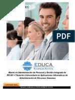 Master en Administración de Personal y Gestión Integrada de RR.HH + Titulación Universitaria en Aplicaciones Informáticas de Administración de Recursos Humanos