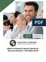 Master en Asesoría Laboral y Gestión de Recursos Humanos + 60 Créditos ECTS