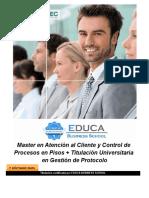Master en Atención al Cliente y Control de Procesos en Pisos + Titulación Universitaria en Gestión de Protocolo
