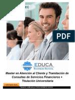 Master en Atención al Cliente y Tramitación de Consultas de Servicios Financieros + Titulación Universitaria