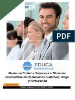 Master en Cultivos Herbáceos + Titulación Universitaria en Operaciones Culturales, Riego y Fertilización