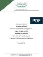 2016-08-11 Asoc RAGONE Sobre Ley Creacion Policia Investigacion