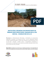 INVITACIÓN A REUNIÓN CON PROPIETARIOS DE PREDIOS AFECTADOS POR EL TRAZADO DE LA VÍA SAN GIL – CHARALÁ KM 30 AL 35