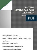 Kriteria Hospitalisasi Pada Luka Bakar