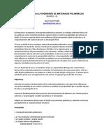 Programa Introducción a La Ingeniería de Materiales Poliméricos