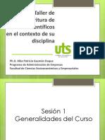 Seminario Taller de  Escritura de  Artículos Científicos en el contexto de su  disciplina 1