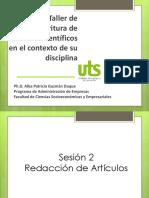 Seminario Taller de  Escritura de  Artículos Científicos en el contexto de su  disciplina 2