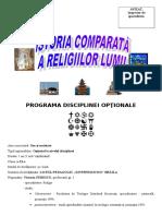 0 Istoria Comparata a Religiilor Lumii Programa Disciplinei Optionale