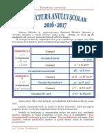 Structura an Scolar Calendar 2016 2017