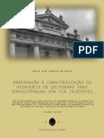 Hidrogéis de Quitosano Para Administração Por via Injetável