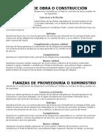 Fianzas TIPO DE FIANZASde Obra o Construcción