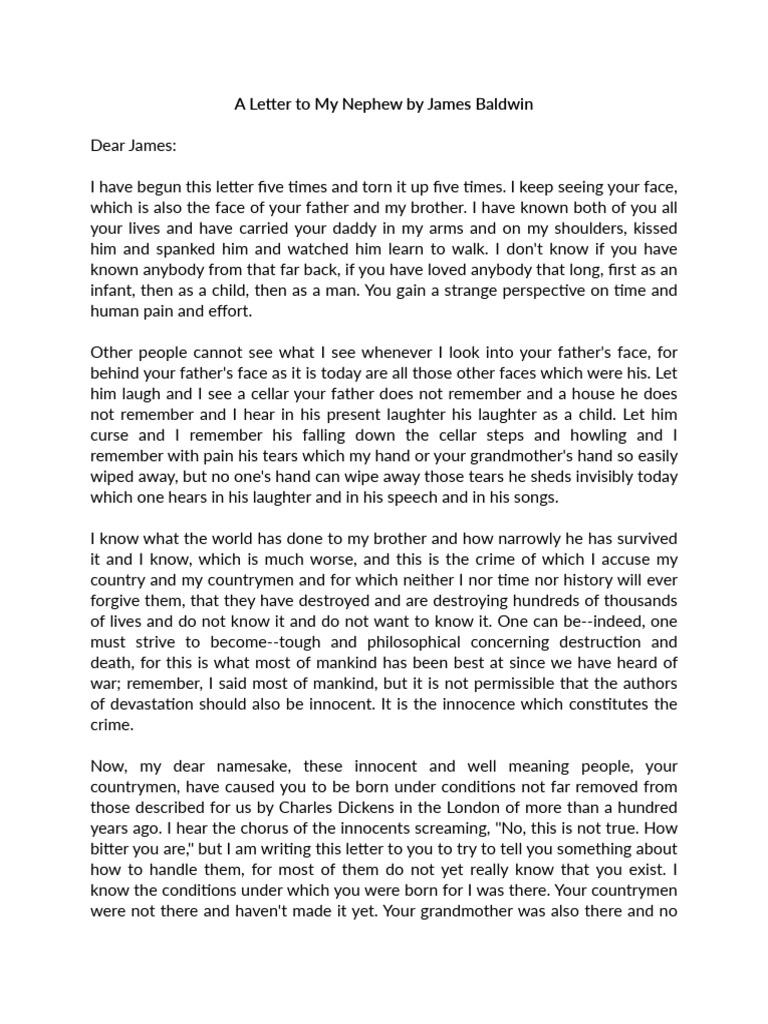 james baldwin letter to my nephew