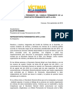 Carta Al Presidente Del Consejo Permanente de La OEA y Demás Representantes Permanentes Antes La OEA