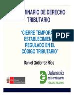 Cierre Temporal de Establecimiento Regulado en El Código Tributario
