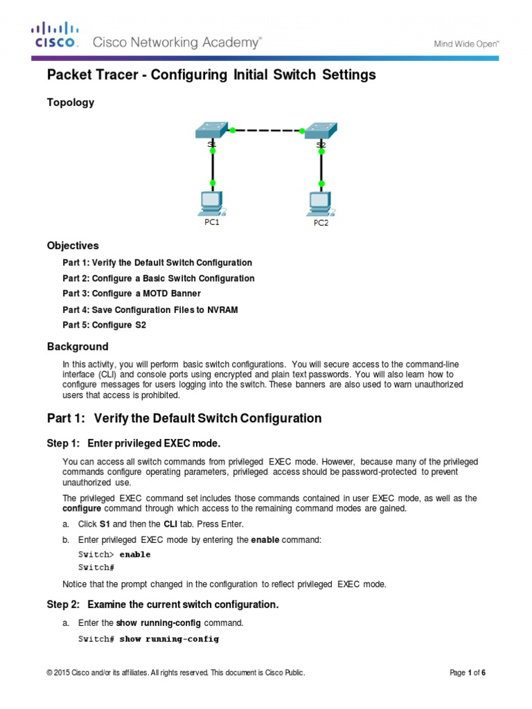 2 2 3 4 Packet Tracer - Configuring Initial Switch Settings pdf