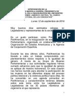 """12-09-16 Intervención de la Senadora Marcela Guerra en La Inauguración del Encuentro Parlamentario América Central """"El Camino Electoral de Las Candidatas"""""""