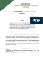 GESTÃO DO CONHECIMENTO Dos Primórdios a Aplicabilidade Organizacional