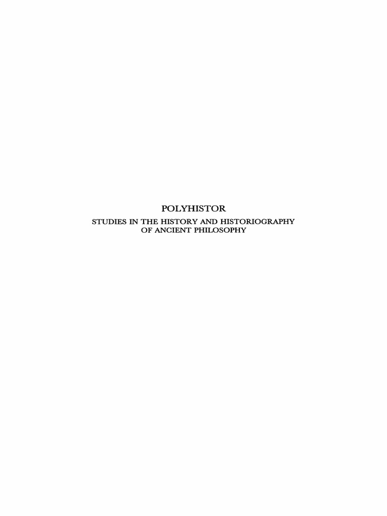 PhA 072 - POLYHISTOR - Studies in the history an historiography of ...