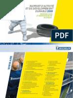 Rapport d Activite et de Developpement Durable 2009 Michelin france