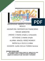 Unidad 2 Actividad2 Interes de Matematicas Financieras