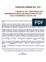 IRR RA 7160 Admin Order 270