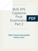 BUS 475 Capstone Final Examination Part 2 Answers on Transweb E Tutors