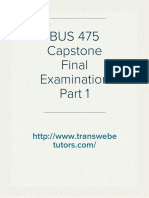 BUS 475 Capstone Final Examination Part 1 Answers - Transweb E Tutors